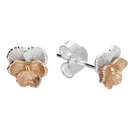 Sterling Silver Rose & Yellow Gold Flower Studs