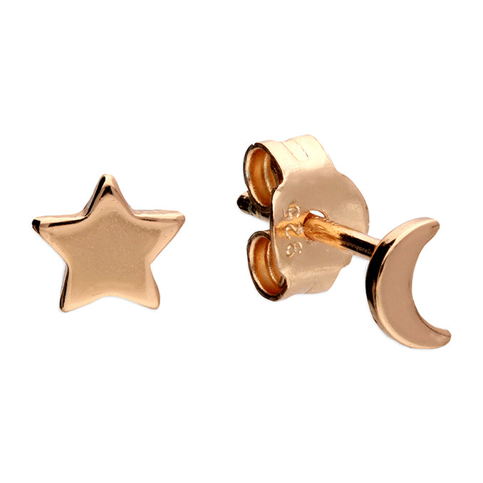 Sterling Silver Rose Gold Plated Moon and Star Stud Earrings