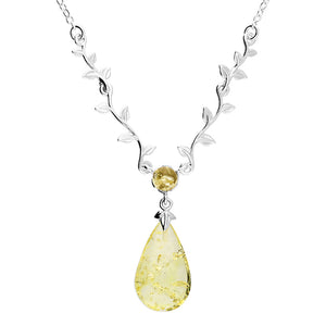 Sterling Silver Citron Amber Necklace