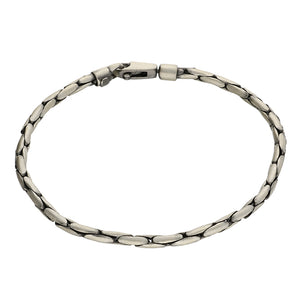 Men's Sterling Silver Oval Box Bracelet