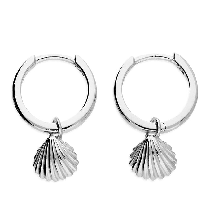 Sterling Silver Clam Shell Huggies/Hoops