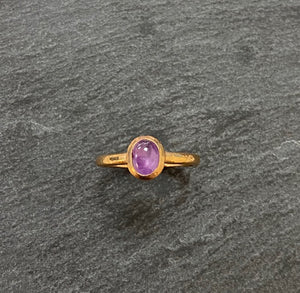 Handmade By James Bishop 9ct Rose Gold And Star Sapphire Ring