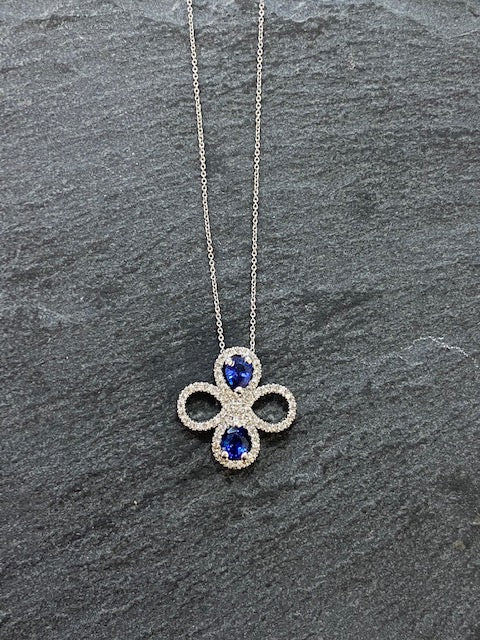 Handmade By James Bishop Platinum Sapphire And Diamond Necklace