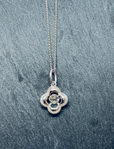 Sterling Silver And CZ 'Clover En Tremblant' Necklace