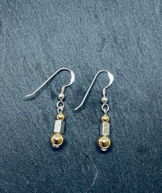 Sterling Silver And Gold Filled Drop Earrings