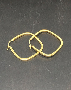 Yellow Gold Plated Square Hoops