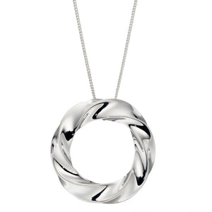 Sterling Silver Organic Circle Twisted Pendant
