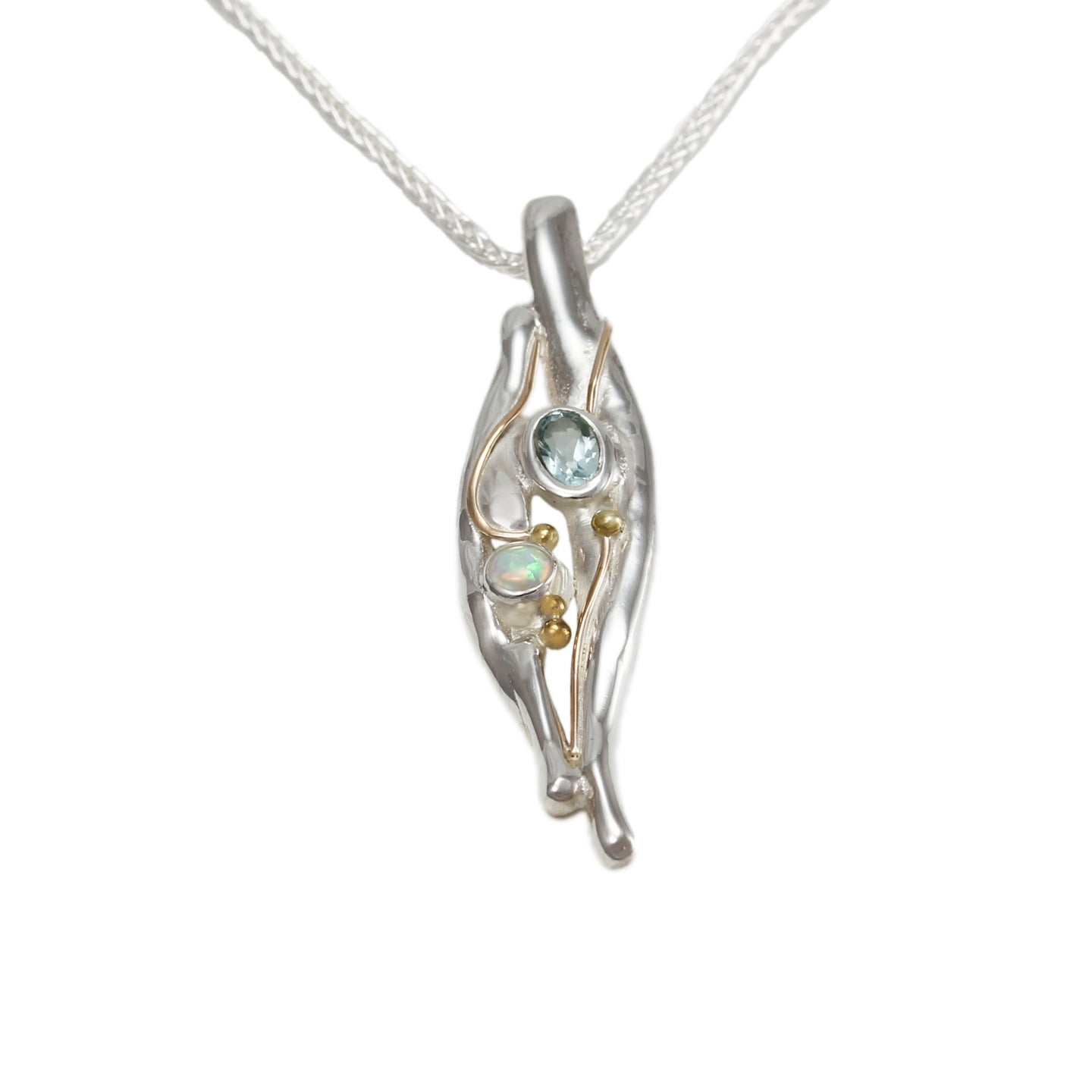 Sterling Silver Blue Topaz and White Opalite Pendant and Chain