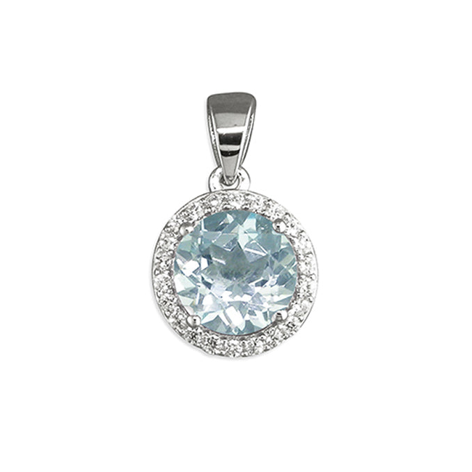 Sterling Silver Blue Topaz Pendant and Chain