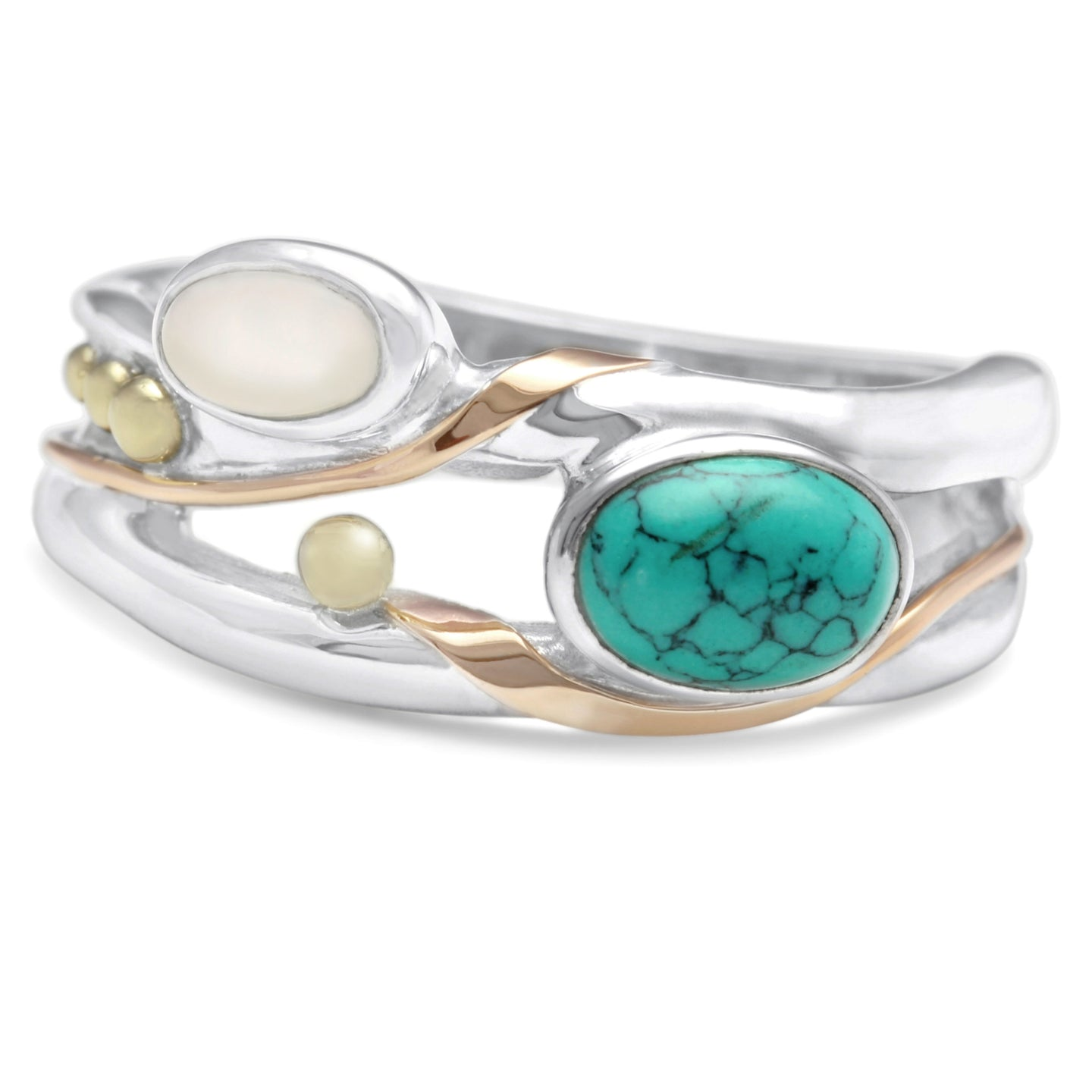 Turquoise and Pearl Sterling Silver Ring