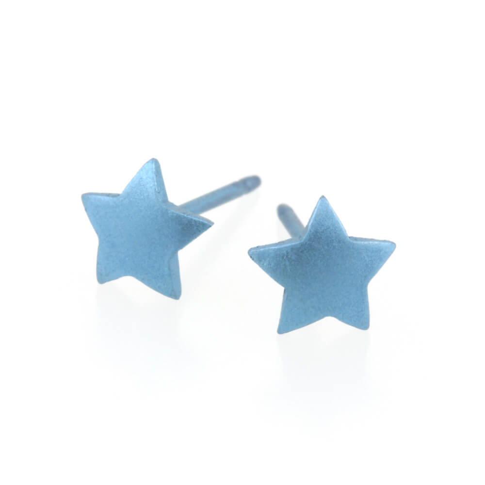 Titanium Pale Blue Star Studs