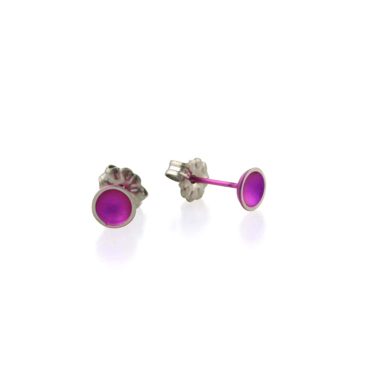 Titanium Candy Pink Tiny Domed Studs