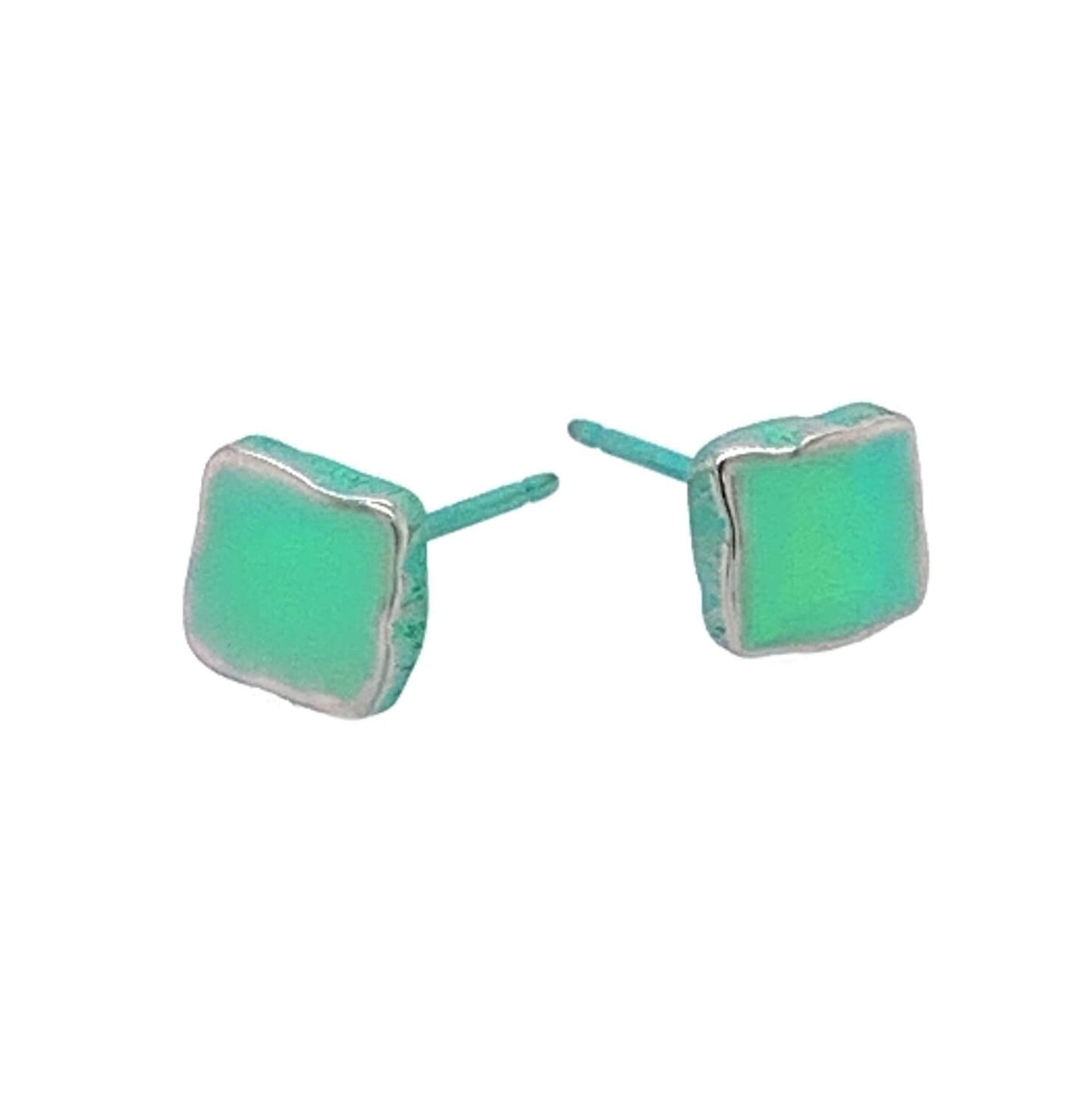 Titanium 6mm Square Squish Studs Green