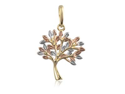 9ct Yellow Gold Tree Of Life Pendant On a Silver Chain