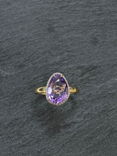 Load image into Gallery viewer, Amethyst And Diamond Ring In 9ct Yellow Gold
