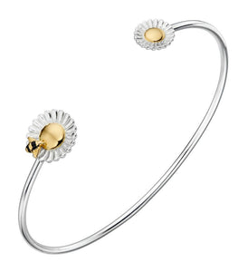 Sterling Silver Bee And Flower Gold Plate Bangle