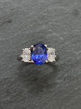 Load image into Gallery viewer, BLUE AND WHITE 3 STONE CUBIC ZICONIA RING