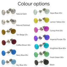 Load image into Gallery viewer, Titanium Aqua Coloured Moon Studs