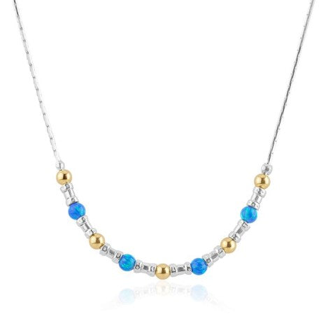 Sterling Silver Oplaite Necklace With Gold Detail