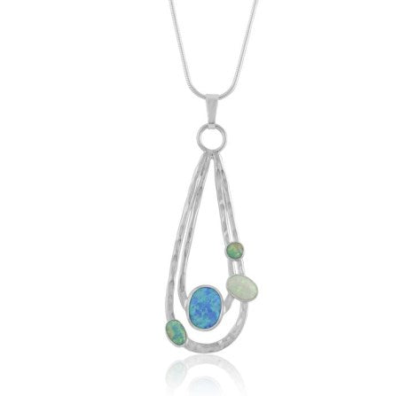 Silver Raindrop Pendant With Opals On Snake Chain