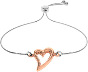 Silver & Rose Gold Heart Bracelet