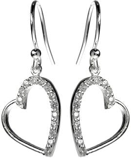 Sterling Silver Heart Drops With Cubic Zirconia