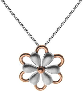 Sterling Silver & Rose Gold Flower Necklace