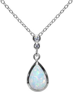 Sterling Silver Pear Shaped White Opalite Necklace