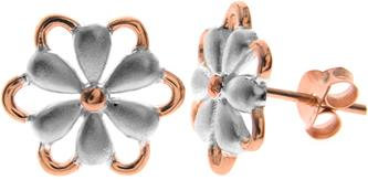 Sterling Silver & Rose Gold Satin Heart Studs