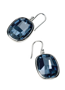 Sterling Silver Graphic Facet Denim Blue Crystal Drop Earrings