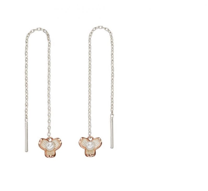 Sterling Silver Rose Gold And Pearl Flower Earrings
