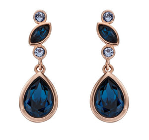 Silver Rose Gold Vermeil Drops With Sapphire Crystal