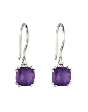 Sterling Silver Cushion Cut Amethyst Drops