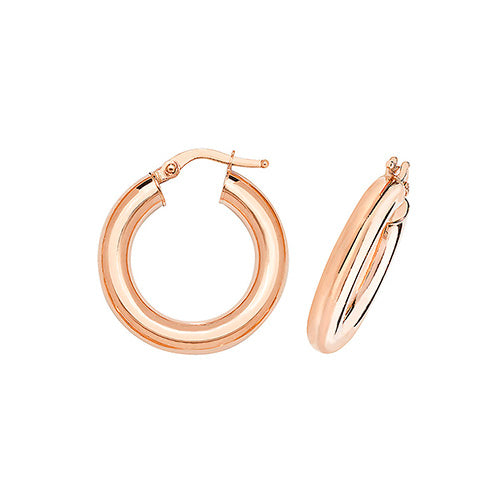 9ct Rose Gold 15mm Round Hoops