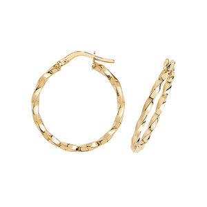 9ct Yellow Gold 20mm Twisted Hoops