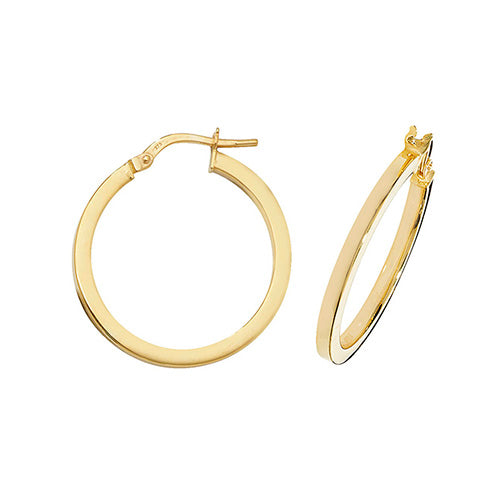 9ct Yellow Gold 20mm Hoops