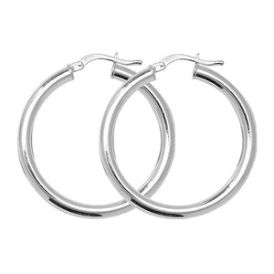 Sterling Silver 25mm Plain Round Hoops