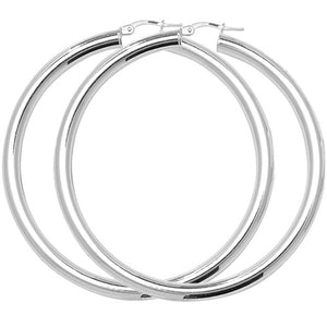 Sterling Silver 50mm Plain Hoops