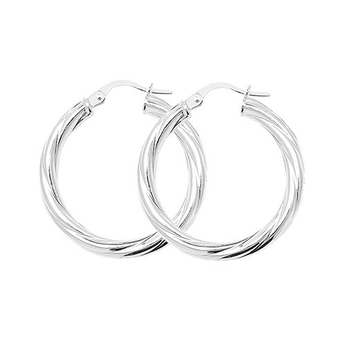 Sterling Silver 20mm Twisted Hoops