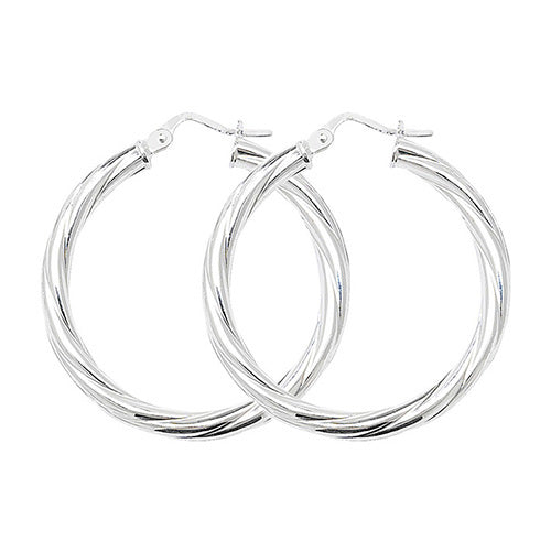 Sterling Silver 25mm Twisted Hoops