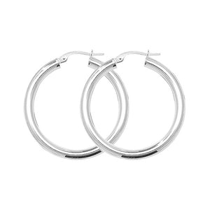 Sterling Silver 25mm Round Hoops