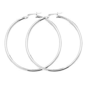 Sterling Silver 40mm Large Hoops