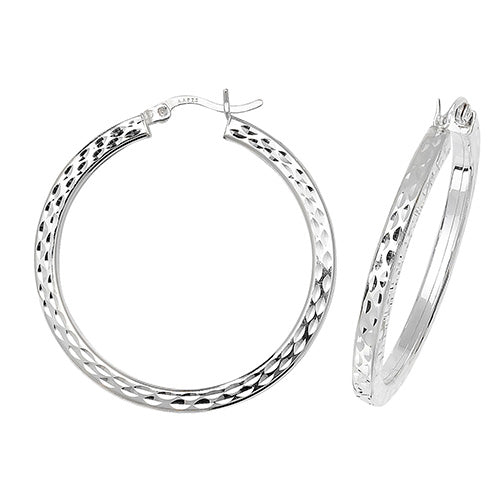 Sterling Silver 30mm Diamond Cut Hoops