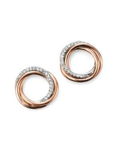 9ct Rose Gold Diamond Set Twist Studs