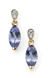9ct Yellow Gold Diamond And Tanzanite Marquise Drop Earrings