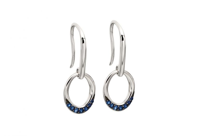 9ct White Gold Sapphire Open Circle Drop Earrings