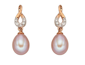 9ct Rose Gold Earrings With Pink Freshwater Pearl And Diamonds