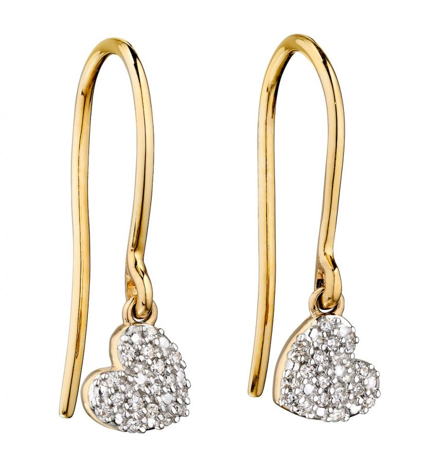 Diamond And 9ct Yellow Gold Swinging Heart Earrings