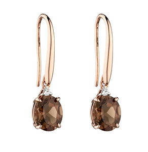Oval Set Smokey Quartz Rose Gold Drop Earrings