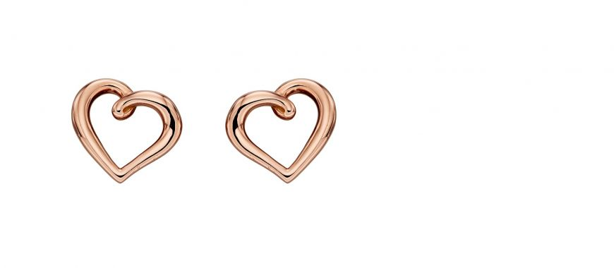 9ct Rose Gold Organic Heart Earrings